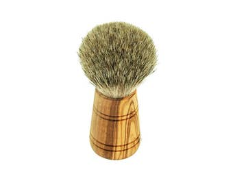 Shaving brushes made of olive wood / real Badger wood handmade unique massive