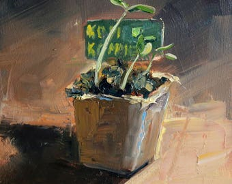 "small oil painting, ""moestuintje"", 6x6 inch, 15x15 cm, oil on panel"