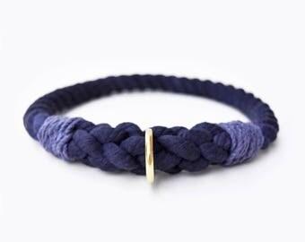 Custom Navy Rope Slip-On Dog Collar