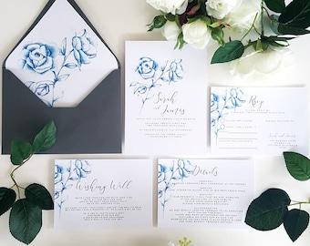 BLUE BLOOM Invite/Rsvp/Wishing Well/Details/Envelope Liner-Hand drawn Bloom in Blue