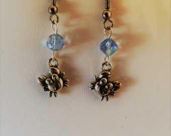 Beach Crabs Silver Tone Dangle Earrings