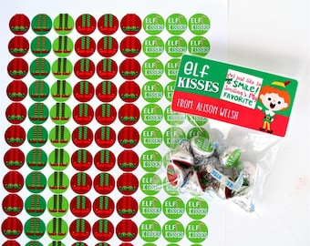 Personalized Elf Kisses | Stickers & Bags!