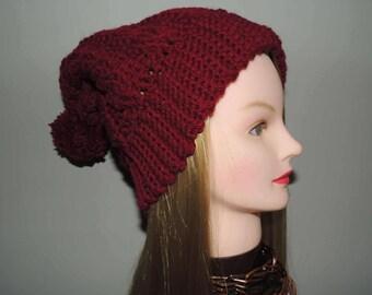 Slouchy Crimson Cable Hat