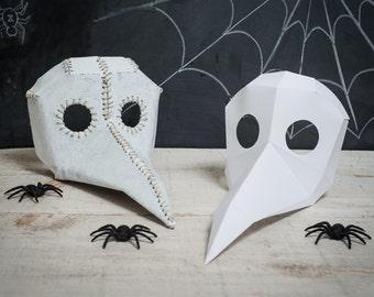 Printable Paper Plague Doctor Mask Spy vs Spy bird mask DIY foldable mask template Crow Bird Raven Big Beak Mask
