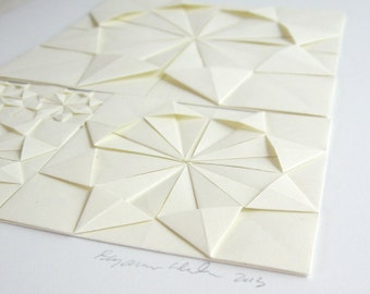 Origami Sketch No2 Ivory Paper Collage - Original Art - Modern Art - Neutral Home Decor - Paper Anniversary Minimalist Art Geometric Circles