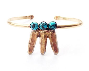 Turquoise Crystal Cluster Cuff Bracelet