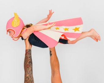 Flying Super Hero Costume Pink - Child Costume - Kids Birthday Gift - Superhero Hat and Cape - Pink Wing Hat and Cape - Girls Birthday