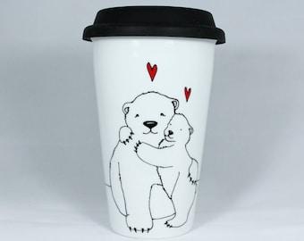 11 oz or 16 oz Polar Bear Hug Travel Mug, Hand painted Mama Bear, Baby Polar Bear, Eco Thermal Double-wall Porcelain Travel Mug, Custom mug