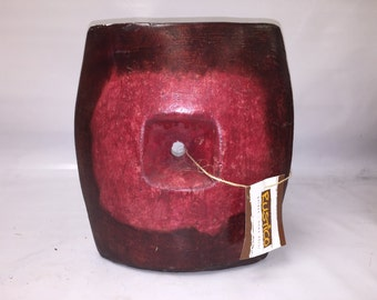 Red Art Vase with Depression and opening in center -  Oval Rounded Clay Vase - Unique Home Decor
