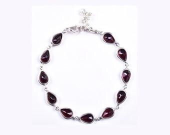 Red Garnet Bracelet Silver Garnet Jewelry 925 Sterling Silver Bracelet Garnet Gemstone Tennis Bracelet Natural Garnet Stone Red Bracelet