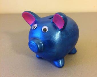 Blue Ceramic Piggy Bank, Metallic Paint Piggy Bank, Boys Bank, Birthday Gift, Christmas Gift, Stocking Stuffer, Child's Decor,