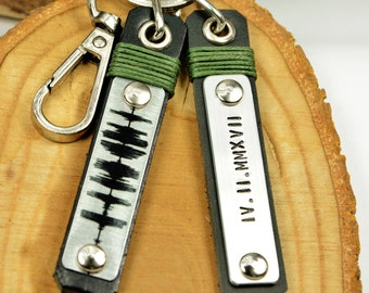 FAST SHIPPING, 2pcs Soundwave Keychain, Mens Personalize Keychain, Mens Leather, Wedding Gift, New Home Gift, Custom Keychain, Father Gift