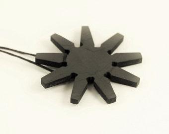 Shungite pendant Nine pointed star, EMF protection, root chakra healing pendant, reiki PE54