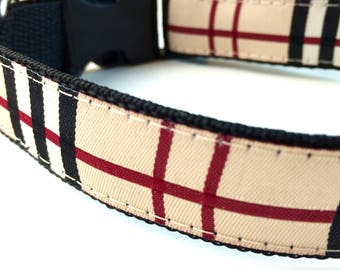 London Plaid Dog Collar | Burberry Inspired Dog Collar | Plaid Leash | Plaid Step In Harness | Personalized Dog Collar | Dog Collar