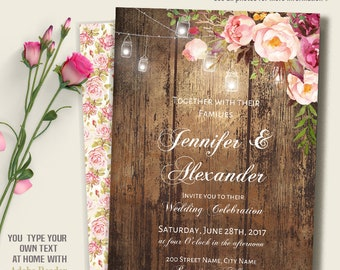 Printable Wedding invitation, Boho Wedding templates, Wood, lights and flowers, Instant Download Self Editable PDF A228