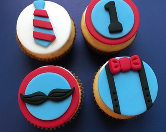 12 Mustache and Bow Tie Cupcake Toppers-Fondant