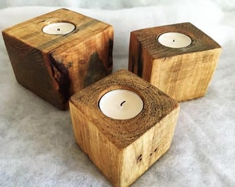 Tea Light Holders - set of three, Tea Light Holder, Rustic Tea Light Holder, Reclaimed Wood Tea Light Holder, Handmade Tea Light Holder