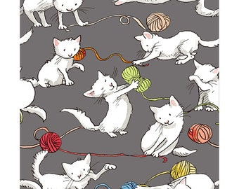 Knittens Kitten Gray By Clothworks, Quilting Cotton Fabric, Cat Lady, Cat Lover, Pet Lover, Cat And Yarn