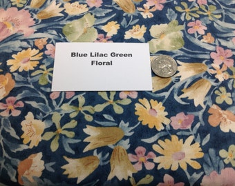 Green Blue Lilac Floral Fabric - 2 Yards