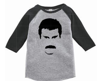 Freddie Mercury Queen Rock Baby Toddler Kid Tee Raglan Shirt