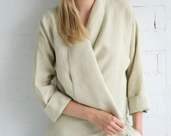 Linen Jacket Motumo – 17SV3 / Handmade linen jacket with 3/4 sleeves / Washed linen jacket