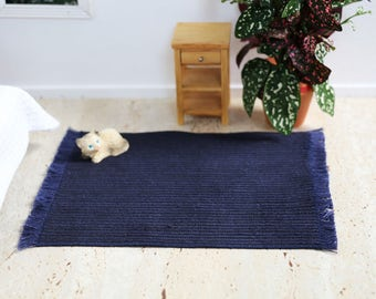 Doll house Miniatures, 1:12 Scale Navy Blue Corduroy Floor Rug for Doll Houses, Miniature Accessories