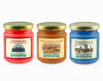 TV Inspired Scented Candle Set - Twin Peaks, Pawnee Harvest Festival, Stars Hollow