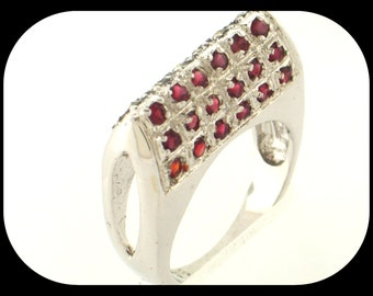 New Italy Designer 925 sterling silver Garnet & Marcasite Cluster Double Sided Band RING