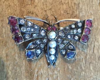 Antique Diamond Ruby Sapphire Butterfly  Brooch