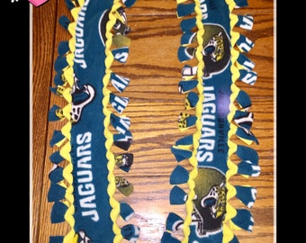 "Handmade Fleece SCARF Jacksonville Jaguars Teal with Yellow Back w/ Border No Sew Soft & Cozy 3""x54"""