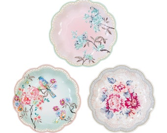 Floral, Paper Plates, Bridal Tea, Party Plates, Love Birds, Song Birds, Floral Wedding, Wedding Shower, Garden Party, Shabby Chic Party