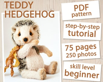 Teddy Hedgehog PATTERN & Tutorial - Instant download PDF, sewing pattern, detailed instructions, step-by-step tutorial