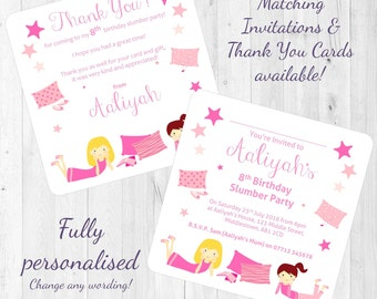 Slumber / Sleepover Girl's Party Personalised Birthday Invitations/Invites/Thank You Cards - Girl's Night In - Printed with Envelopes