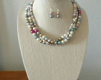 Multicolor Necklace & Earrings