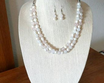 Freshwater Pearl/Rose Quartz 2-Layer Beaded Necklace & Earrings
