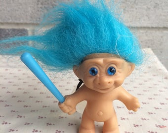 Troll doll with suction cup, Vintage Troll doll window decoration with suction cup, Baseball player troll doll, softball player troll doll