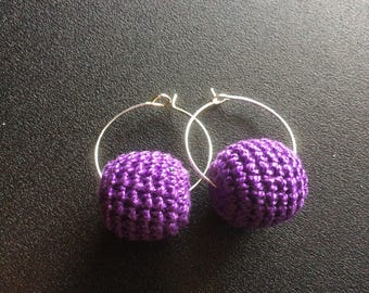 Crochet bead hoop earrings
