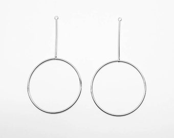 P0503/anti-Tarnished Rhodium Plating Over Brass/Large Circle Bar Pendant/40x73mm/2pcs