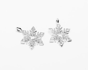 P0539/Anti-Tarnished Rhodium Plating Over Brass/SnowFlake Pendant/11x15mm/2pcs