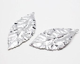P0541/Anti-Tarnished Matt Rhodium Plating Over Brass/Realistic Large Leaf Pendant/23x48mm/2pcs