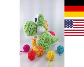 Yoshi Pattern crochet Amigurumi Wolly German, English PDF