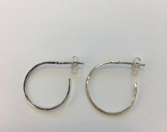 Plain silver hoop earrings