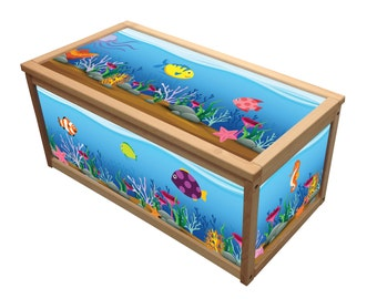 Underwater - Wooden Toy Box / Chest Box Toybox