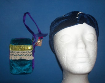 Natural Life ID Wristlet Purse & Velour Twisted Turban Headband Bohemian Boho Hippie Style