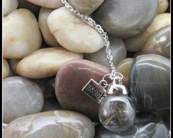 "Glass Globe Dandelion Seed Pendant on 18"" Chain"