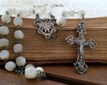 Rosary, Mother of Pearl, Religious Dress, Antique Rosary, Virgin Mary, Silver Jewelry, Catholic Rosary, French Rosary