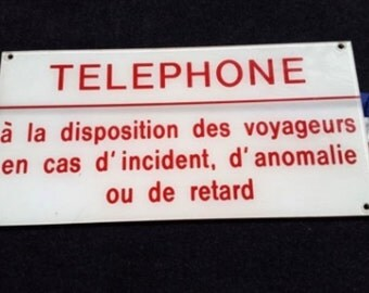 French sign / Vintage plastic sign / Telephone sign / Industrial / Loft / French vintage