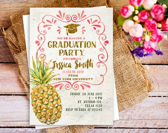Graduation Pineapple Luau Invite Summer Celebration Rustic Hawaiian