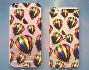 Colorful Hot Air Balloons in Flight Pattern Flying Aviation Pretty Fun Cool Clear Rubber Case for iPhone 7 6s 6 Plus SE 5s 5 5c iPod Touch