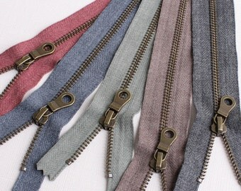Set of 5 YKK Closed End Zippers with soft brushed look tape and Antique brass metal donut style pull one color each | 20cm/8""